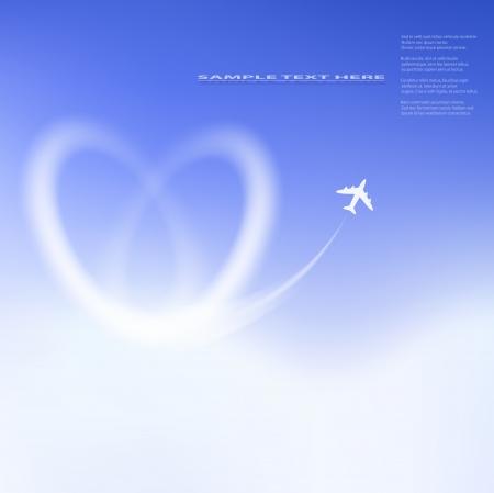 Heart shape clouds on blue sky Stock Vector - 17711116