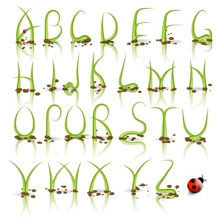 grass font: Green plant alphabet