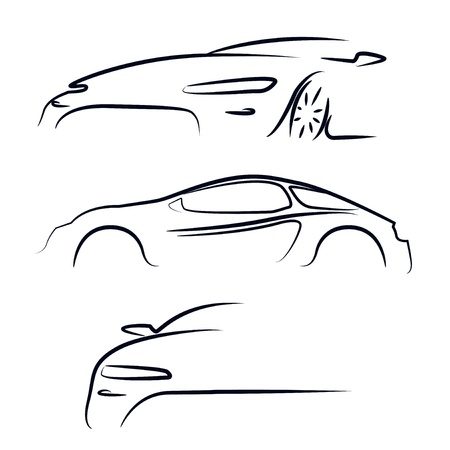Silhouet van auto Vector illustratie Stock Illustratie
