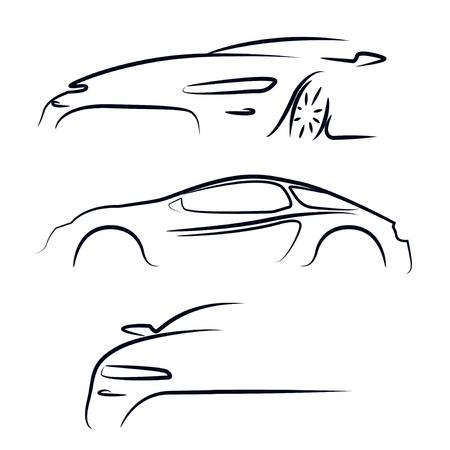 white car: Silhouette di illustrazione vettoriale auto