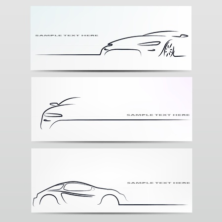 headlights: Silhouette of car  Vector illustration