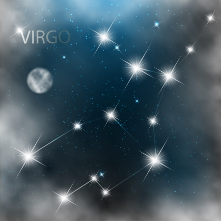 virgo zodiac sign: Constellation sign bright stars in cosmos with moon and clouds.