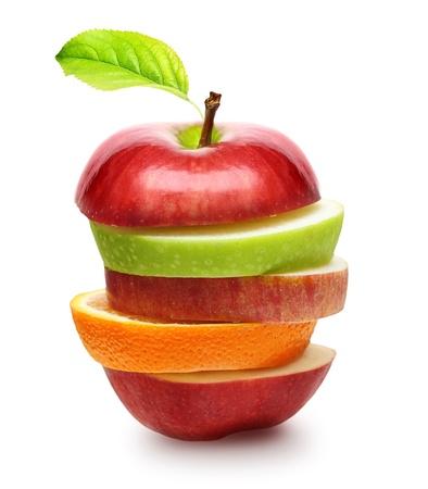 vegetarian food: Apples and orange fruit isolated Stock Photo
