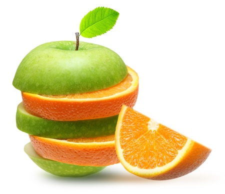 Apples and orange fruit isolated photo