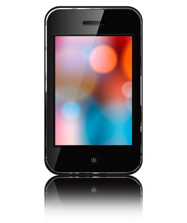 Mobile phone iphon style  isolated on white background   Stock Photo