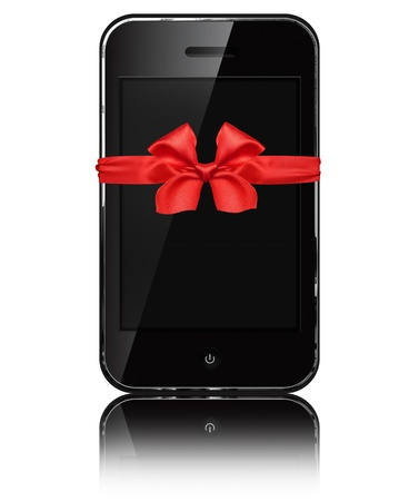 iphon: Mobile phone iphon style with red bow isolated on white background.