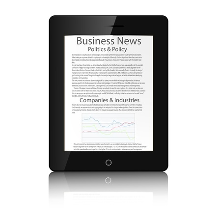 buisness: Realistic tablet pc computer with buisness news Vector illustration