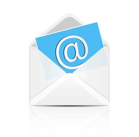 e white: E mail concept  Vector white envelope with email sign icon
