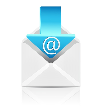 e white: E mail concept  Vector white envelope with arrow email sign icon