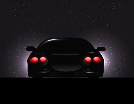 car showroom: Silueta de coche con luces de fondo en fondo oscuro