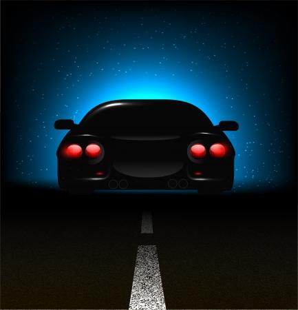 car showroom: Silueta de coche con luces de fondo en fondo oscuro asfalto Vectores