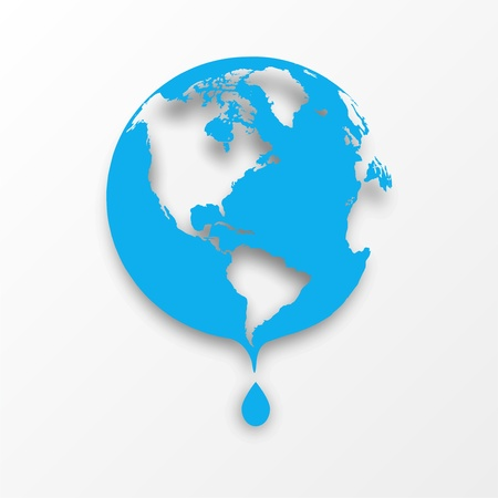 drop shadow: Vector blue earth globe with drop of water  Eco concept