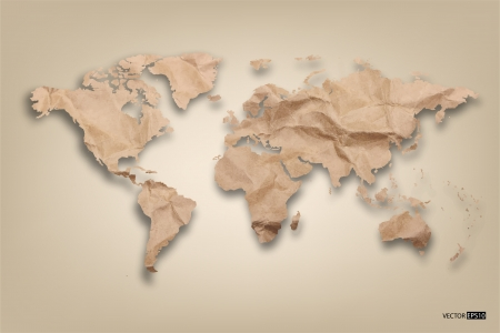 Recycled paper map of the world  EPS10 vector illustration  Vector