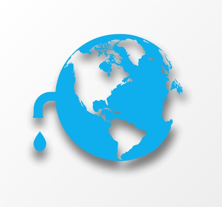 Vector blue earth globe with drop of water  Eco concept Stock Vector - 18366058