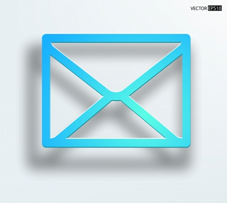 e  mail: E mail concept  Vector envelope with smooth shadow