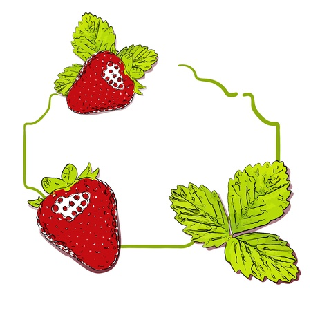 Vector strawberry with leaves background.