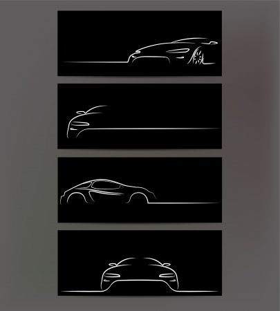 luxury cars: Silhouette of car on black background.  Stock Photo