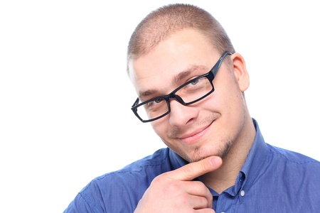 Young  attractive man  smiling in black eyeglasses  isolated on white background with copy space. photo