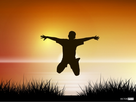 freedom of expression: Vector silhouette of young boy jumping in lake against sunset sky  Freedom concept  Illustration
