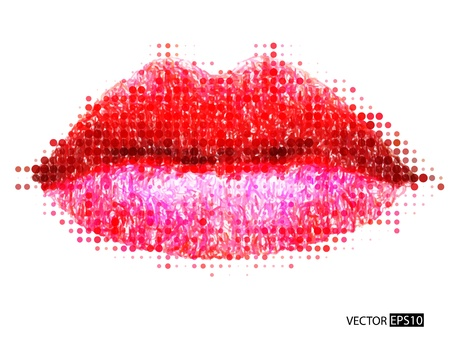 closed mouth: Abstract vector woman lips