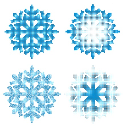 snow crystals: Set of different dotted  snowflakes isolated on white background  Illustration
