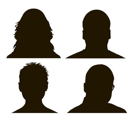 man face profile: Perfil vector hombre y mujer siluetas Vectores