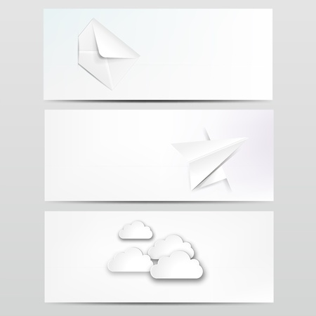 Abstract web design background with clouds with different paper object  Stock Vector - 18683808