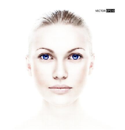 Digital dotted beautiful woman Stock Vector - 18635507