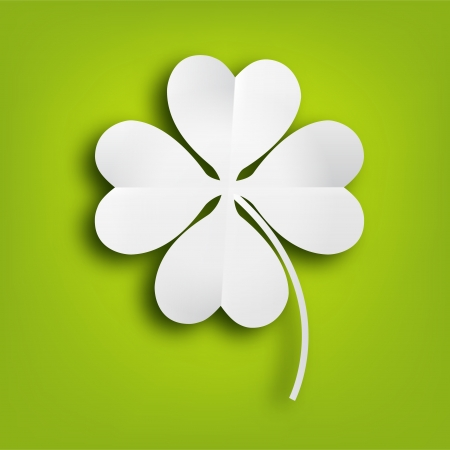 four objects: Paper clover leaf on green background. Illustration