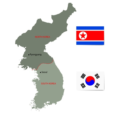 korea: North and South Korea map with flags isolated on white background.