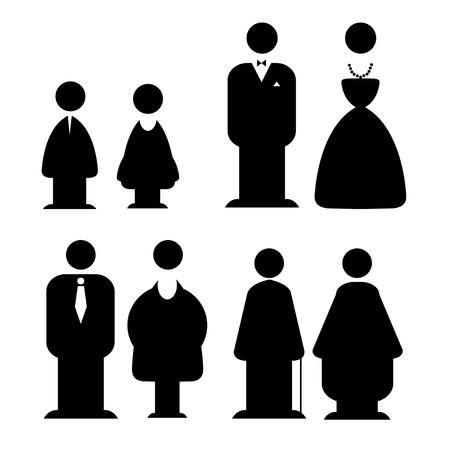 simbolo uomo donna: Persone silhouette icona, donna, uomo, bambino, il nonno, la nonna. Vettoriali
