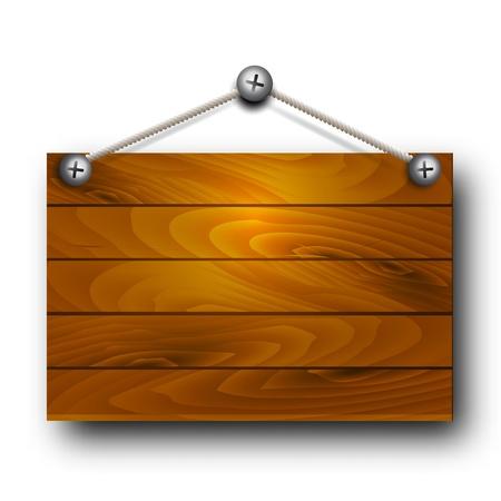Vectorwooden boord opknoping Vector Illustratie