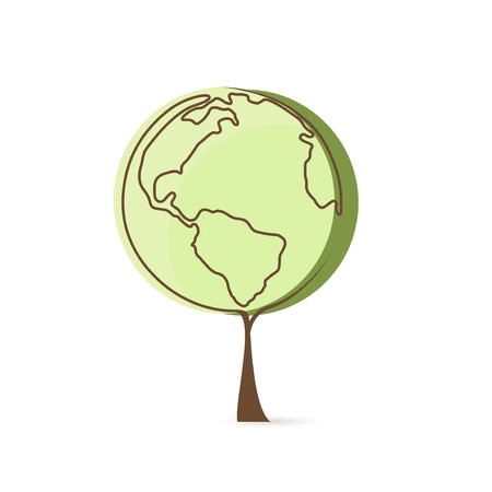 Vector eco green planet tree  Stock Vector - 19373451