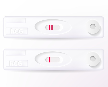 the result pregnancy test: Vector positive and negative pregnancy tests isolated on white