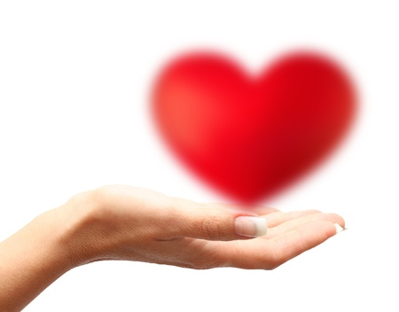 Hand holding heart isolated on white background Stock Photo - 19660433