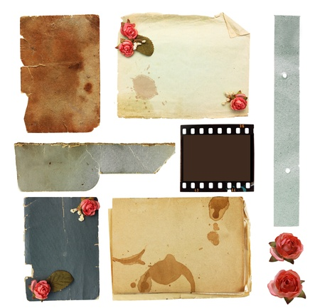 Vintage background with old paper and flowers  photo