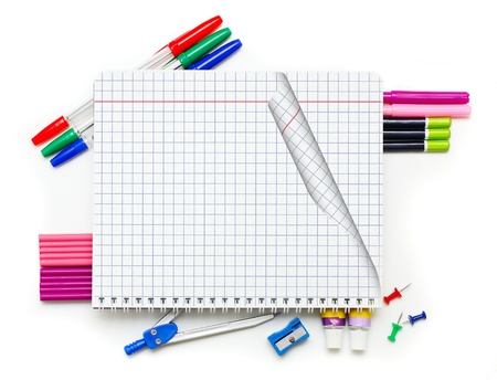 Office supplies on white background  photo