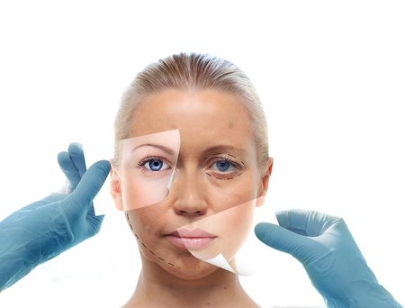 clinical trial: Collage with womans portrait and hands in medical gloves isolated on white. Beauty treatment concept.