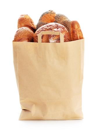 bolsa de pan: Pan fresco en la bolsa de papel ecológico.