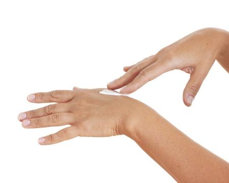 moisturize: Hands applying moisturize cream