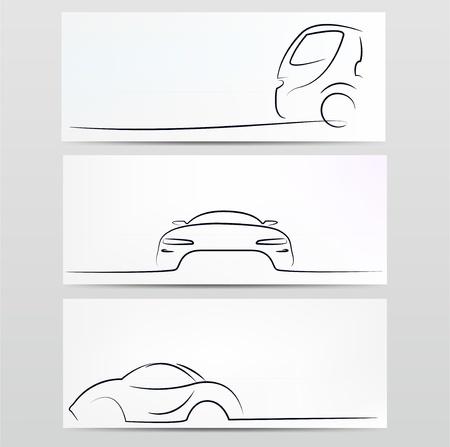 車のシルエット  イラスト・ベクター素材