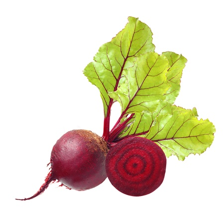 beets: Beetroot with leaves isolated on white