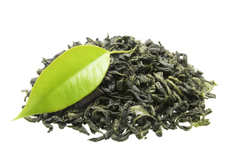 tannin: Green tea with leaf isolated on white background