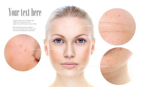 piel rostro: Retrato de la mujer hermosa aislado en blanco, concepto de cuidado de la piel.