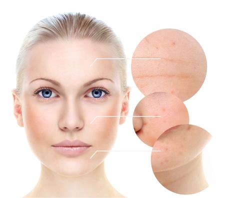 Portrait der sch�nen Frau auf wei�em, Hautpflege-Konzept.