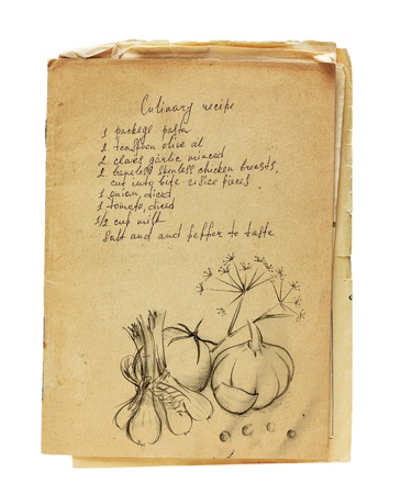 writings: Old recipe book isolated on white background.