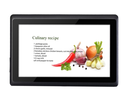 net book: Cooking recipe on tablet pc isolated on white background. Stock Photo