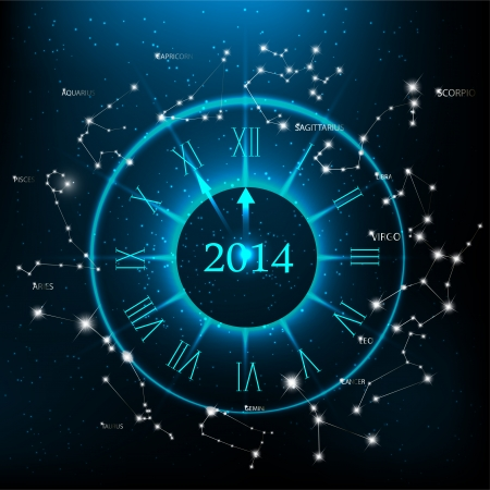 Vector horoscopes clock, New Year 2014 abstract background.