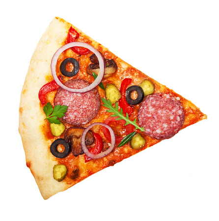 Pizza slice isolated on white background.