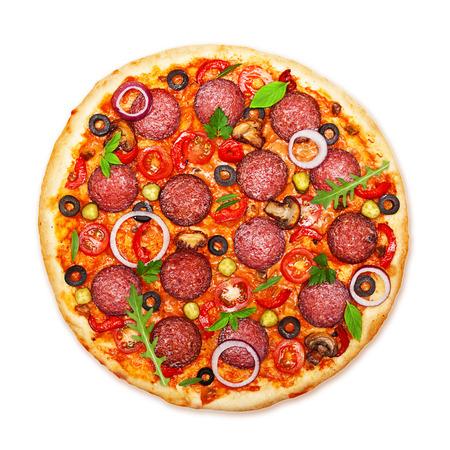 pepperoni pizza: Pizza isolated on white background. Stock Photo